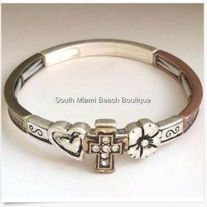 Serenity Prayer Bracelet Silver Gold Copper Cross
